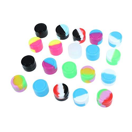 BESTONZON - 50 unidades de 2 ml no adhesivas, redondas, caja de silicona divertida, contenedor para humo, pasta y aceite de cigarrillo electrónico, accesorios de cigarrillo (color surtido)