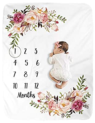 BUTTZO Milestone Blanket/Baby Milestone Blanket Girl Boy/Large Baby Blankets for Girls and Boys Newborn Photography Premium Fleece Baby Monthly Blanket Shower Gifts from BUTTZO