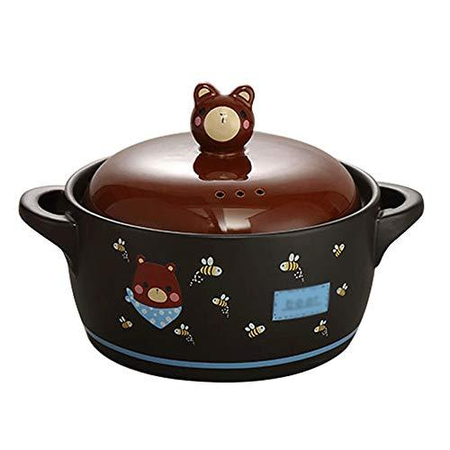 BAPYZ Olla de cerámica de Dibujos Animados Coreanos cazuela de cerámica Olla de Sopa Olla de estofado Puede ser Llama Abierta Suministros de Cocina para el hogar Resistentes al Calor