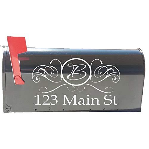 VWAQ Mailbox Numbers Stickers Custom Address & Monogram Initial Personalized Set of Mailbox Decals (White)