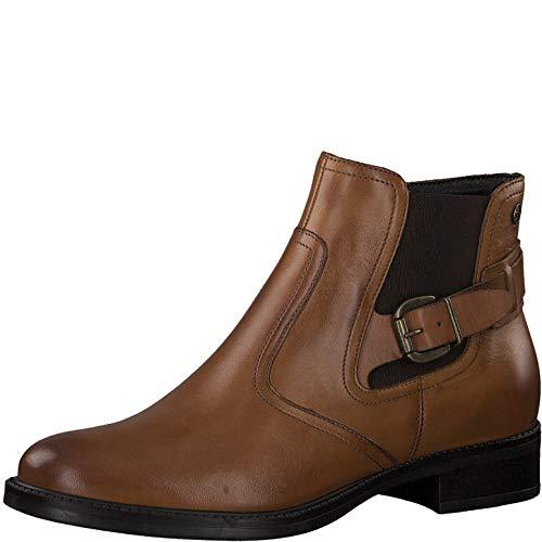 Tamaris Damen Stiefeletten, Frauen Chelsea Boots, Women Woman Freizeit leger Stiefel halbstiefel Bootie Schlupfstiefel flach Lady,NUT,38 EU / 5 UK