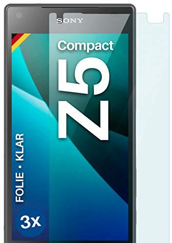 moex Klare Schutzfolie kompatibel mit Sony Xperia Z5 Compact - Bildschirmfolie kristallklar, HD Bildschirmschutz, dünne Kratzfeste Folie, 3X Stück