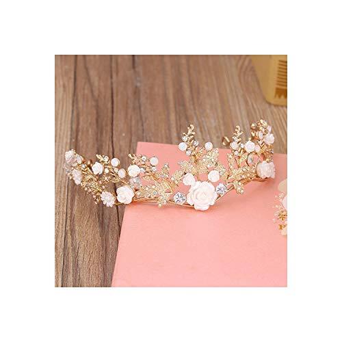 Tiara hecha a mano con flores doradas para boda, accesorio para el pelo, accesorio para novia