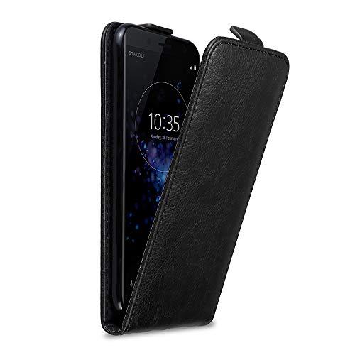 Cadorabo Hülle für Sony Xperia XZ2 COMPACT in Nacht SCHWARZ - Handyhülle im Flip Design mit Magnetverschluss - Hülle Cover Schutzhülle Etui Tasche Book Klapp Style
