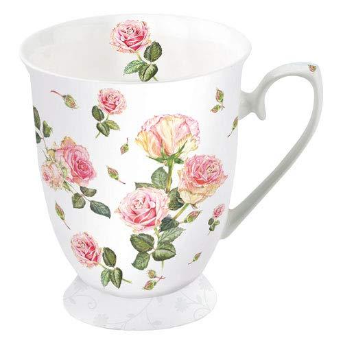 Ambiente Becher - Mug - Tasse - Tee/Kaffee Rosie White Floral ca. 0.25L - Ideal Als Geschenk