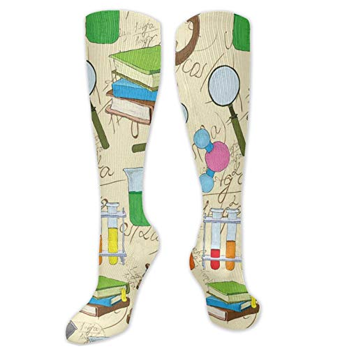 Compression Socks Women, Science Education Lab Sketch Books Equation Loupe Microscope Molecule Flask Print,High,Colorful,Cute,Funny,Novelty,Graduated,Sports Stockings 50cm