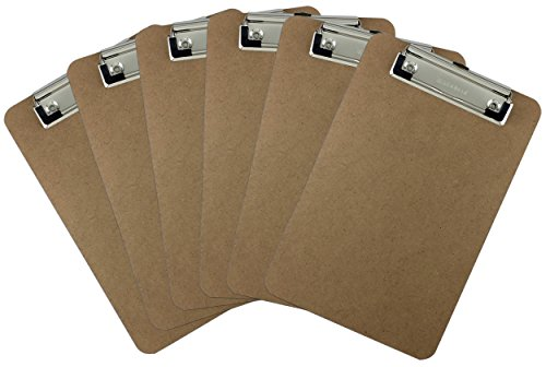 Trade Quest Memo Size 6'' x 9'' Clipboard Low Profile Clip Hardboard (Pack of 6)