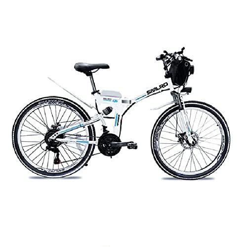 SAWOO Bici elettrica da 1000 W Mountain bike elettrica 26 pollici E-bike pieghevole con batteria al litio 10AH Snow ebike Shimano 21 Speed Gear (bianco)