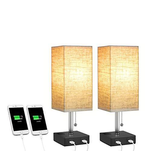 Glighone Nachttischlampe mit 2 USB Anschluss, E27, Modern Nachttische Tischlampe Tischleuchte mit Stoff Lampeschirm Vintage Stehlampe Nachtlicht für Schlafzimmer, Wohnzimmer, Hotel, Café, 2 Stücke