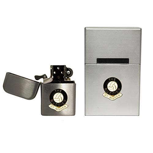 St. Mirren Football Club stormproof Petrol Lighter and Hard case flip top Cigarette Packet Holder