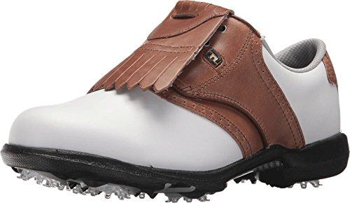 FootJoy Zapatos de golf DryJoys estilo temporada previa para mujer, blanco (Blanco/equipaje café), 40 EU