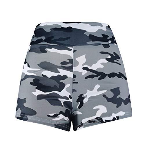 Whear Comfy Active Capri Leggings High Waist Print Yoga Shorts for Women Soft Workout Skinny Lounge Shorts Hot Pants (#01Gray,L)