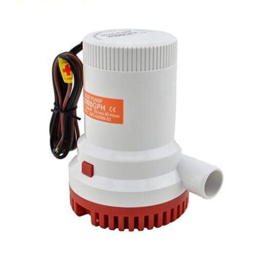 LYFEI 24V 12V DC Kayak Regla de Agua eléctrico 2000 GPH 12 voltios de Alta presión 2000GPH Barco Bomba de achique de sentina 24V Bump Fácil De Instalar (tamaño : 24V)