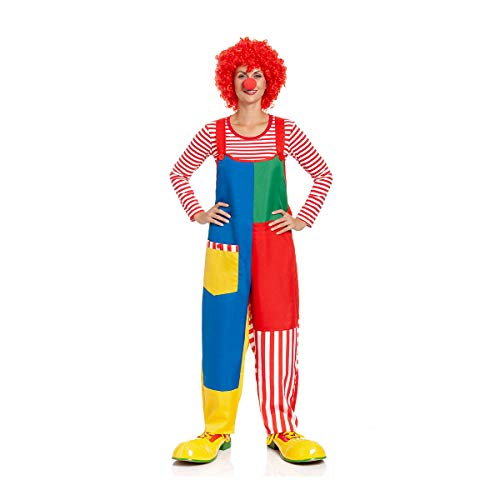 Kostümplanet Clown Latzhose Damen Kostüm Karneval Fasching Hose Clown-Kostüm Größe 40/42