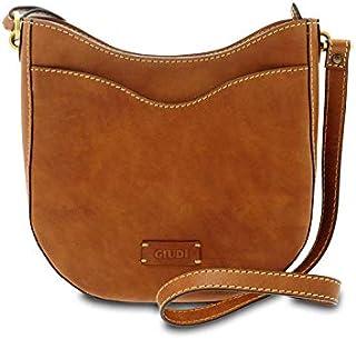GIUDI ® - Borsa Donna in pelle vacchetta nuvolata, tracolla, vera pelle, Made in Italy. (Marrone)