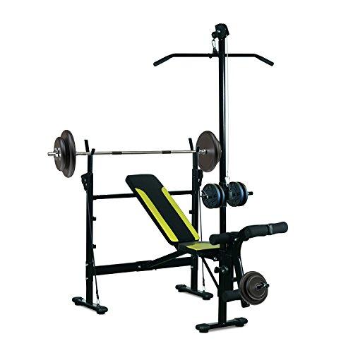 HOMCOM Banc de Musculation Fitness Entrainement Complet Dossier réglable Cordes Traction Curler Supports Barre et haltères Noir et Jaune