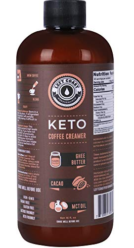 Keto Coffee Creamer with MCT Oil, Ghee Butter, Cocoa Butter - 16oz / 32 Servings (Must Blend) - No Carb Keto Creamer for Coffee Booster, Low Carb (Zero)