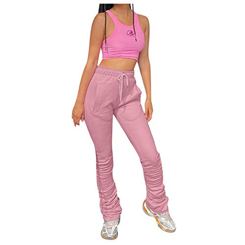 GALAFIRE Joggers Yoga Pants Womens High Waisted Lounge Pajama Plus Size Training Casual Jogging Athletic Trousers Pink