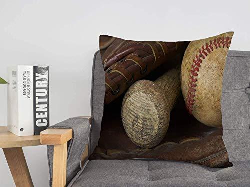 LREFON 2PCS Kissenhülle Makro Baseball Handschuh Fledermaus Wettbewerb Hit Transport Sport Strike Athletic Recreation Leder Wärme Bunte Wohnkultur 18