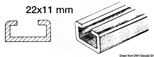 Osculati Rotaia per scorrevoli 1 m 22x11mm (Aluminium Traveller + Nylon Slider 1 m 22x11
