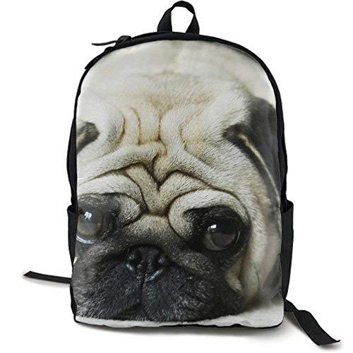 XCNGG Erwachsenen-Vollformat-Druckrucksack Lässiger Rucksack Rucksack Schultasche Lightweight Durable Backpack Daypack for School Travel Hiking, Cute Pug