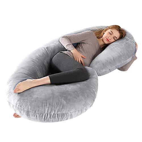 "CDEN Pregnancy Pillow, C Shaped Full Body Pillow 52"", Maternity Pillow Support for Back, Legs, Neck, Hips for Pregnant Women with Removable Washable Velvet Cover(LIGHTGREY)"