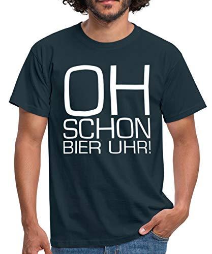 Oh Schon Bier Uhr Spruch Männer T-Shirt, L, Navy