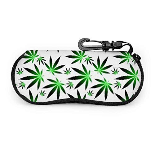 Estuche para gafas, hojas de cáñamo de cannabis y marihuana en gafas de sol transparentes Estuche blando Estuche ultraligero de neopreno con cremallera y mosquetón, Estuche para gafas de sol p