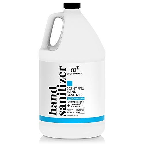 Artnaturals Hand Sanitizer Gel Alcohol Based (1 Gallon x 128 Fl Oz / 3785ml) Infused with Jojoba Oil, Aloe Vera Gel & Vitamin E - Unscented Fragrance Free Sanitizer
