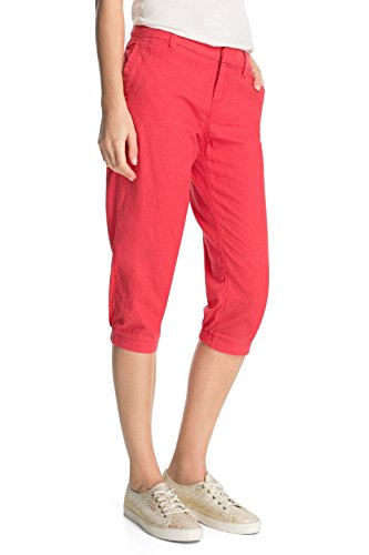edc by ESPRIT Damen Hose play linen cropped, Gr. 36, Rot (CW RED 600)