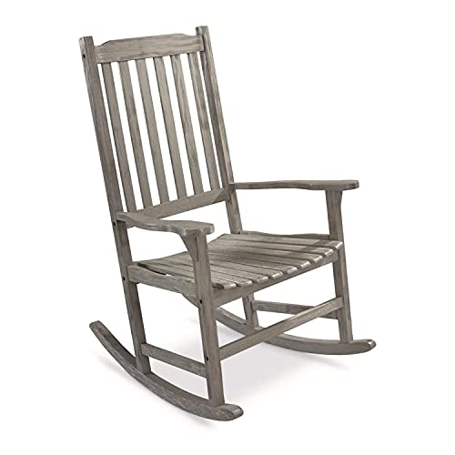 CASTLECREEK Wood Indoor Outdoor Oversized Rocker Ladder Back Lounge Rocking Chair with 300 Pound Capacity for Porch, Patio, and Living Room, Driftwood