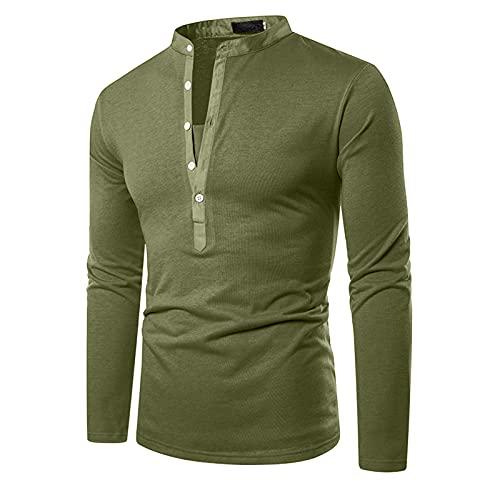 feftops Camisa Blusa de Manga Larga Delgada de Color Sólido con Cuello en V Botón Superior Cómodo para Hombre Slim Ocio Otoño Primavera Básico Superior Retro S-XXL