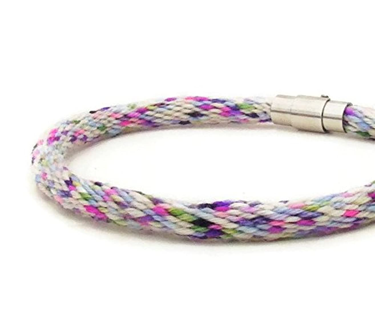 Woven 28 strand, white and purple specialty yarn friendship kumihimo bracelet with stainless steel magnetic clasp