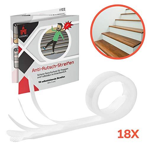 Lieburg 18x Antirutsch Streifen für Treppen - transparent, selbstklebend, leicht anzubringen, soft gummiert - Rutschschutz Treppenstufen Anti-Rutsch