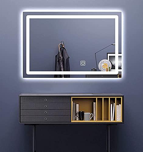 ZGZFEIYU Espejo de baño con iluminación LED - 50x40 cm - Espejo de baño con luz - Espejo de diseño retroiluminado para baño y Aseo de cortesía-50x70cm