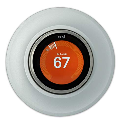 Coveeyaltz Thermostat Round Wall Plate Compatible With Nest Learning Thermostat 3rd 2nd 1st Generation, Metal Base and Exchangeable Cover, Easy Installation with Harness and Fasten Wall Mount (Silver)