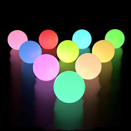 LOFTEK Floating Pool Lights 10 Packs with Timer, RGB Color Changing LED Ball Lights IP67 Waterproof, Replaceable Button Cell Hot Tub Bath Balls with 6 PCS Extra Batteries for Pool Decor Outdoor Indoor