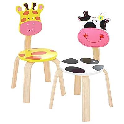 iPlay, iLearn 2 PCS Wooden Kids Chair Sets, Natural Hardwood Giraffe & Cow Animal Children Chairs, Furniture Set for Toddlers Kids Boys Girls, Stackable for Playroom, Nursery, Preschool, Kindergarten by iPlay, iLearn