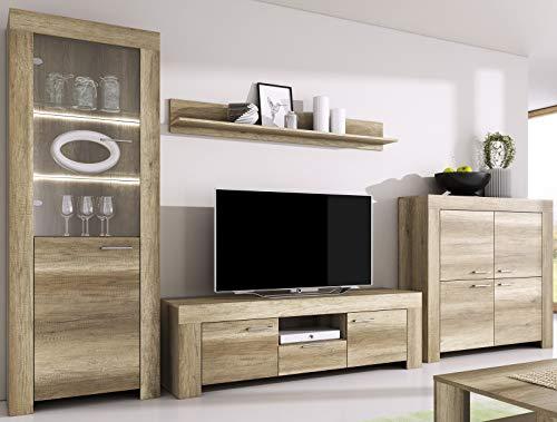 Furniture24 Wohnwand Anbauwand Sky - Tv Schrank Vitrine mit LED Beleuchtung Hängeregal Kommode (Country Grau)