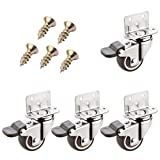 Casters 4 Piece Set,Swivel Caster Wheels,Furniture Caster,L-Type Mounting Plate,1'/1.25'/1.5'/2',for Sofa Chair Cabinet Furniture Bench,Cribs,(brake1.25in)
