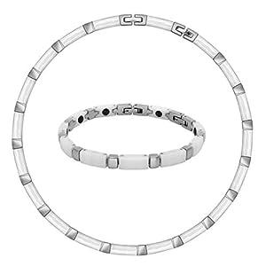 SoulCats® Set Collier und Armband aus Keramik und Edelstahl weiß/Silber in Einer Geschenkbox
