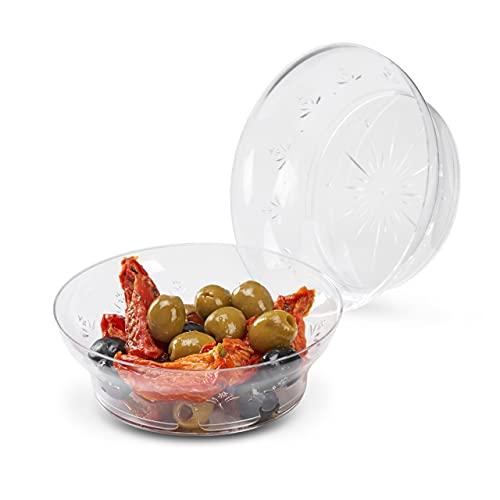 Matana 20 Petits Bols en Plastique Dur Transparent, Bols à Dessert - 285ml