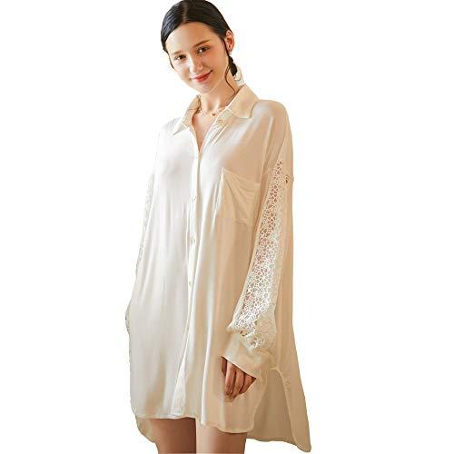 Flwydran damska koszula nocna dla chłopaka, model z długim rękawem sukienki nocne damskie duże rozmiary luźna koszula nocna