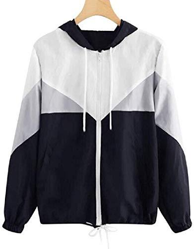 Womens Fashion Color Block Zip-Up Bomber Hoodie Baseball Jackets,Gray,Medium