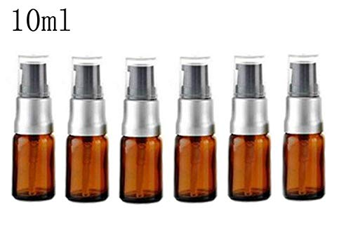 6PCS 10ml Empty Refillable Amber Glass Lotion Pump Press Bottles Jars Vial Makeup Face Cream Facial Cleanser Toiletries Toner Liquid Travel Containers Emulsion Essential Oil Dispenser