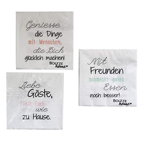 Servietten mit lustigen Sprüchen Liebe Gäste – 3x 20 Stück coole Papierservietten für Party, Grillen, Essen und jeden Tag