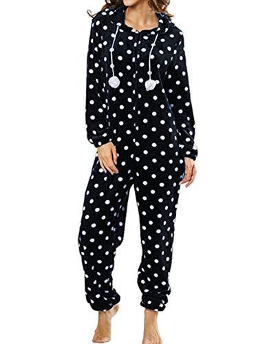 Orshoy Damen Jumpsuit Onesie Overall Pyjama Schlafanzug Einteiler Trainingsanzug Weihnachten Xmas Ganzkörperanzug Mit Rentiermuster Navy Punkte M