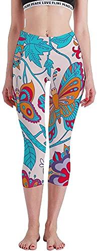 MODORSAN Patrón Floral Transparente Imagen Vectorial Impresa Siete Puntos Yoga Pantalones Mallas Control