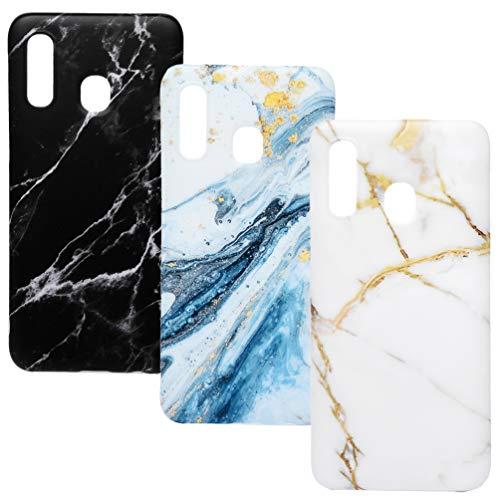ToneSun für Samsung Galaxy A40 Marmor Hülle, 3 x Marble Handyhülle Handytasche: Silikon Case Weich TPU Schutzhülle Etui Case Backcover - Schwarz & Weiß, Weißes Gold, Blau & Weiß