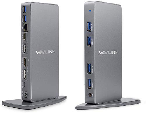 WAVLINK USB C Universal Docking Station, 14-in-1 Aluminum Ultra 5K Dual 4K HD Multiple-Display Adapter with 2 HDMI & DisplayPort, Ethernet, 6 USB 3.0, Audio, DC Jack for Desktop Laptop PC